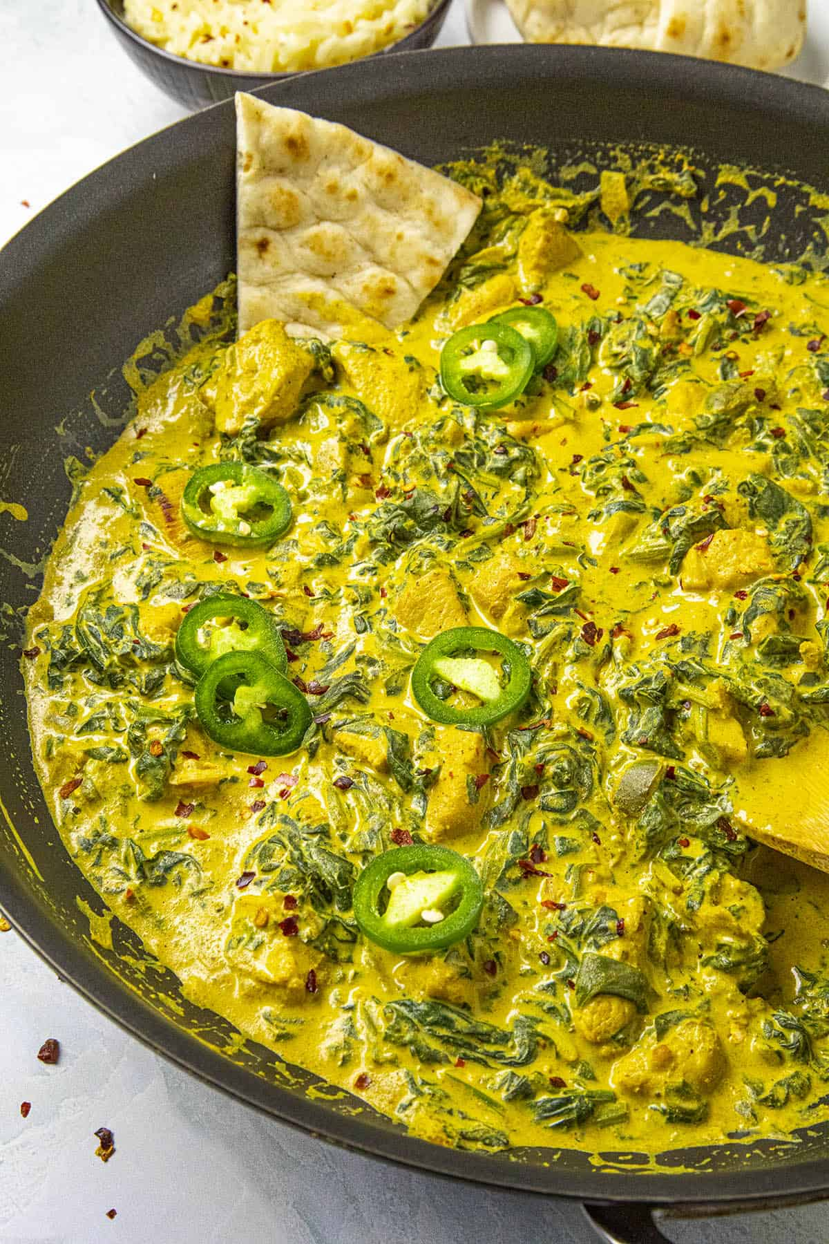 Chicken Saag in a hot pan