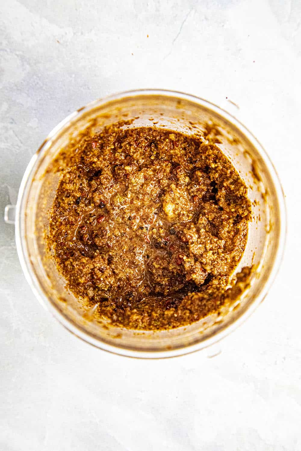 Achiote Paste processed in a food processor
