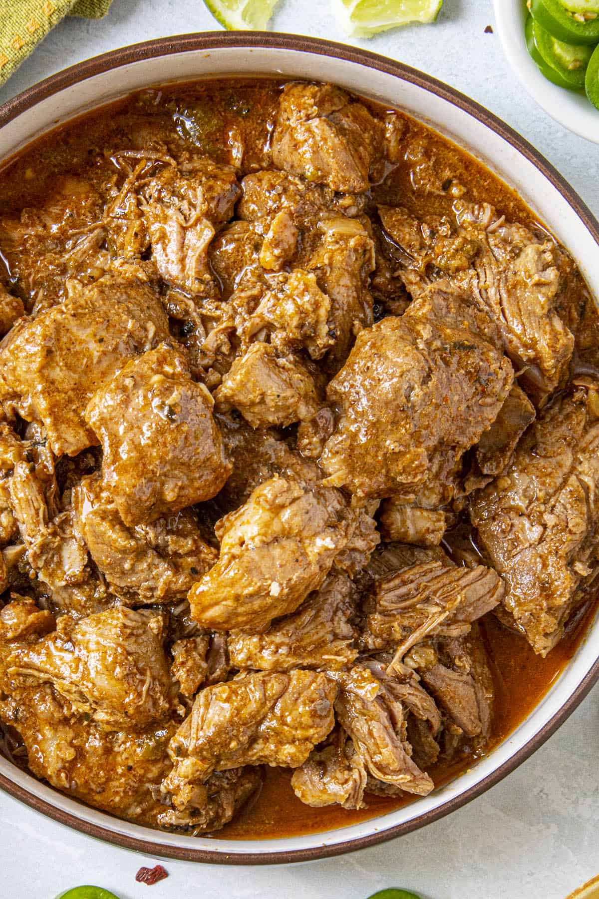 Meaty Chunks of Carne Adovada in a bowl, ready to enjoy