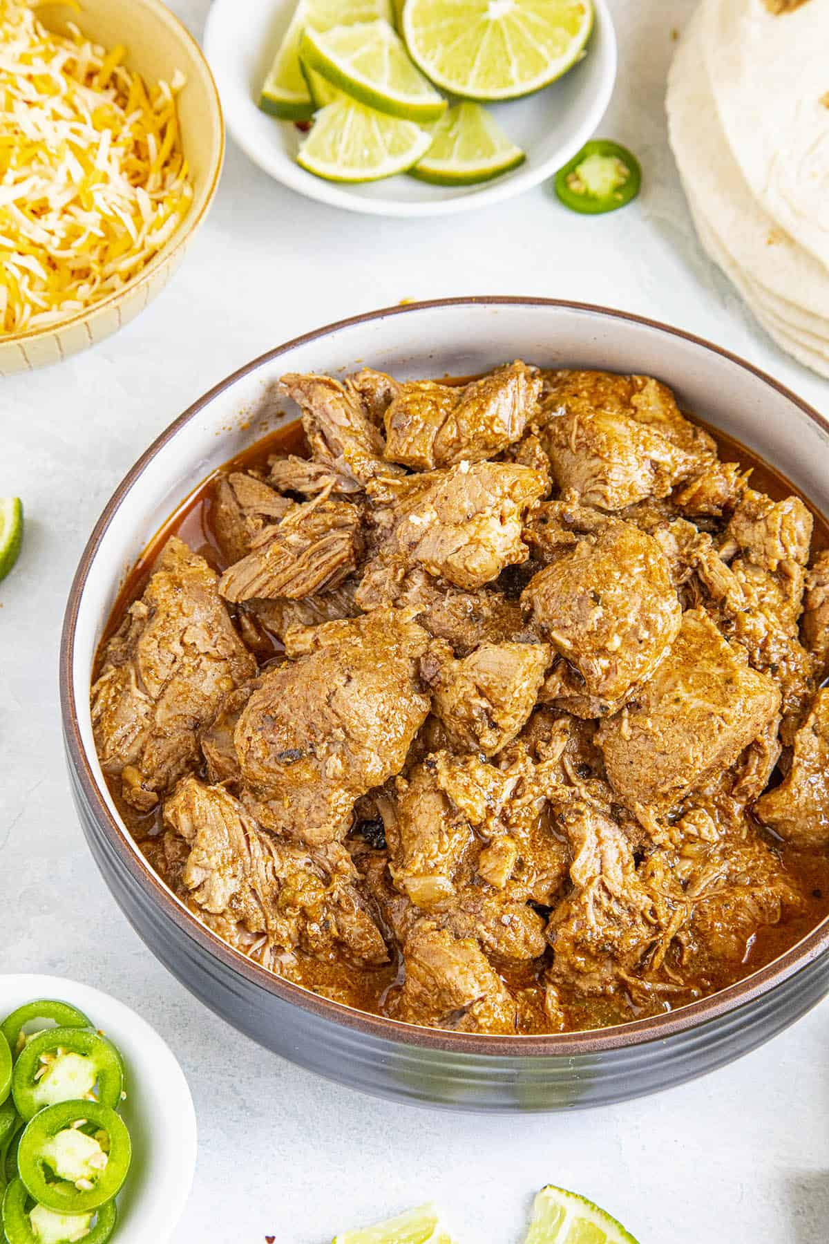 Chunks of Carne Adovada in a bowl