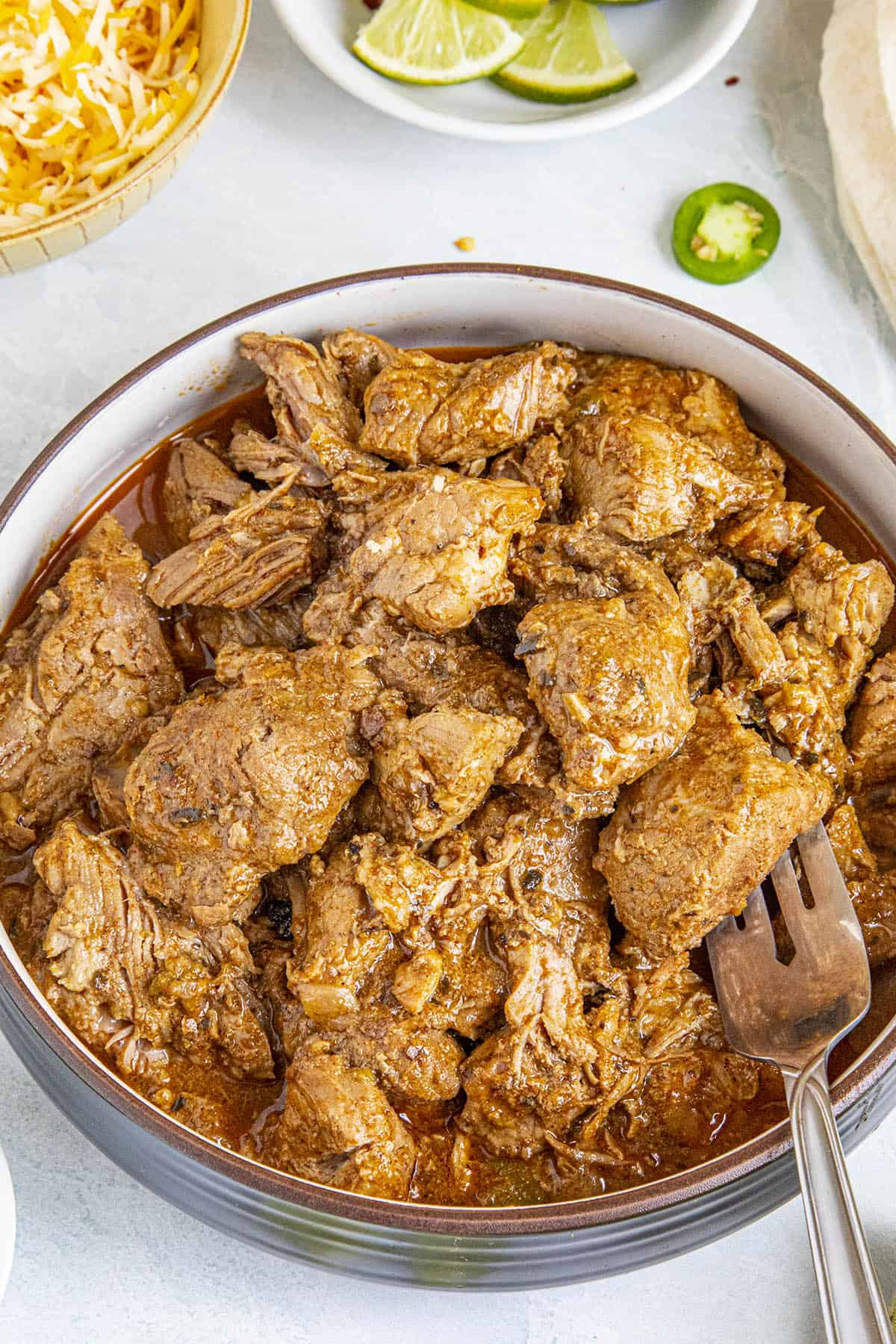 Carne Adovada on a fork