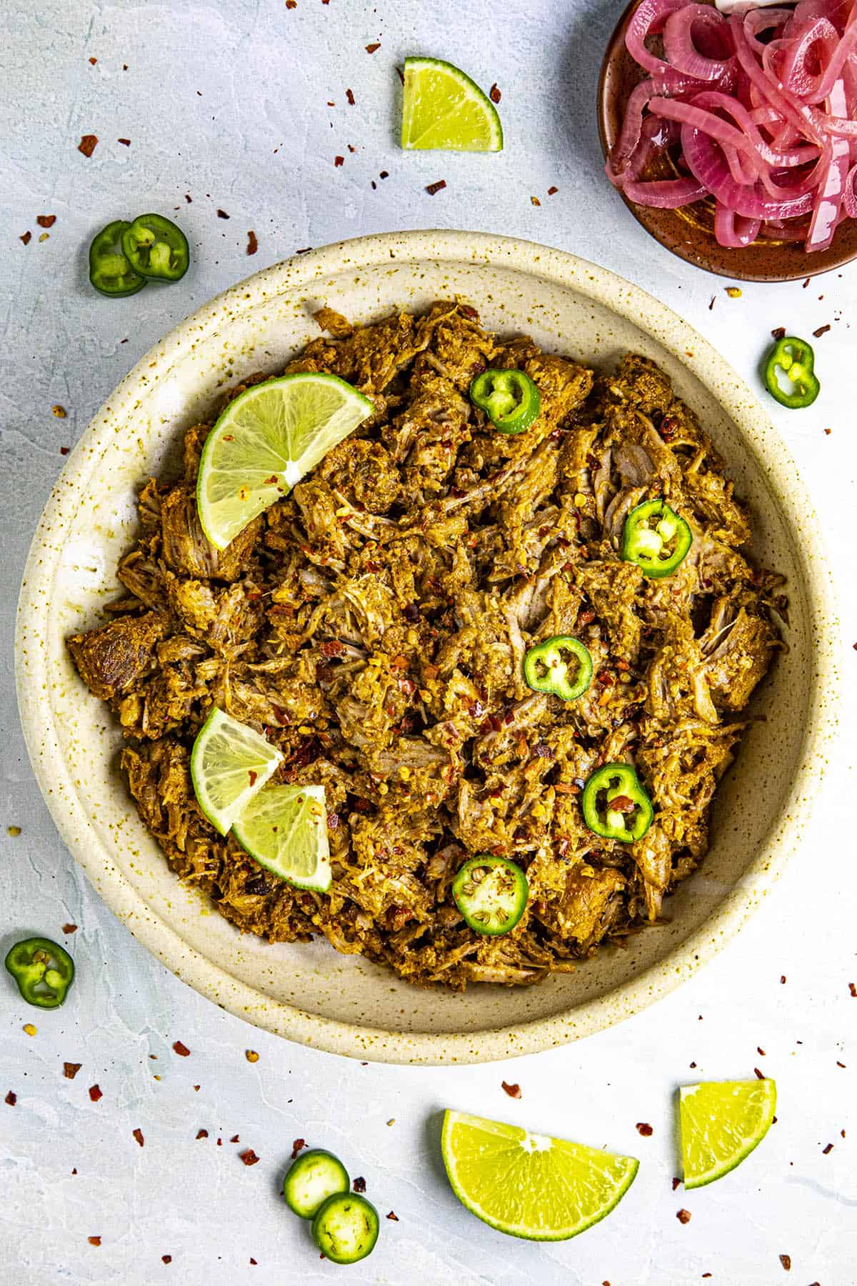 Shredded Cochinita Pibil in a bowl, ready to serve