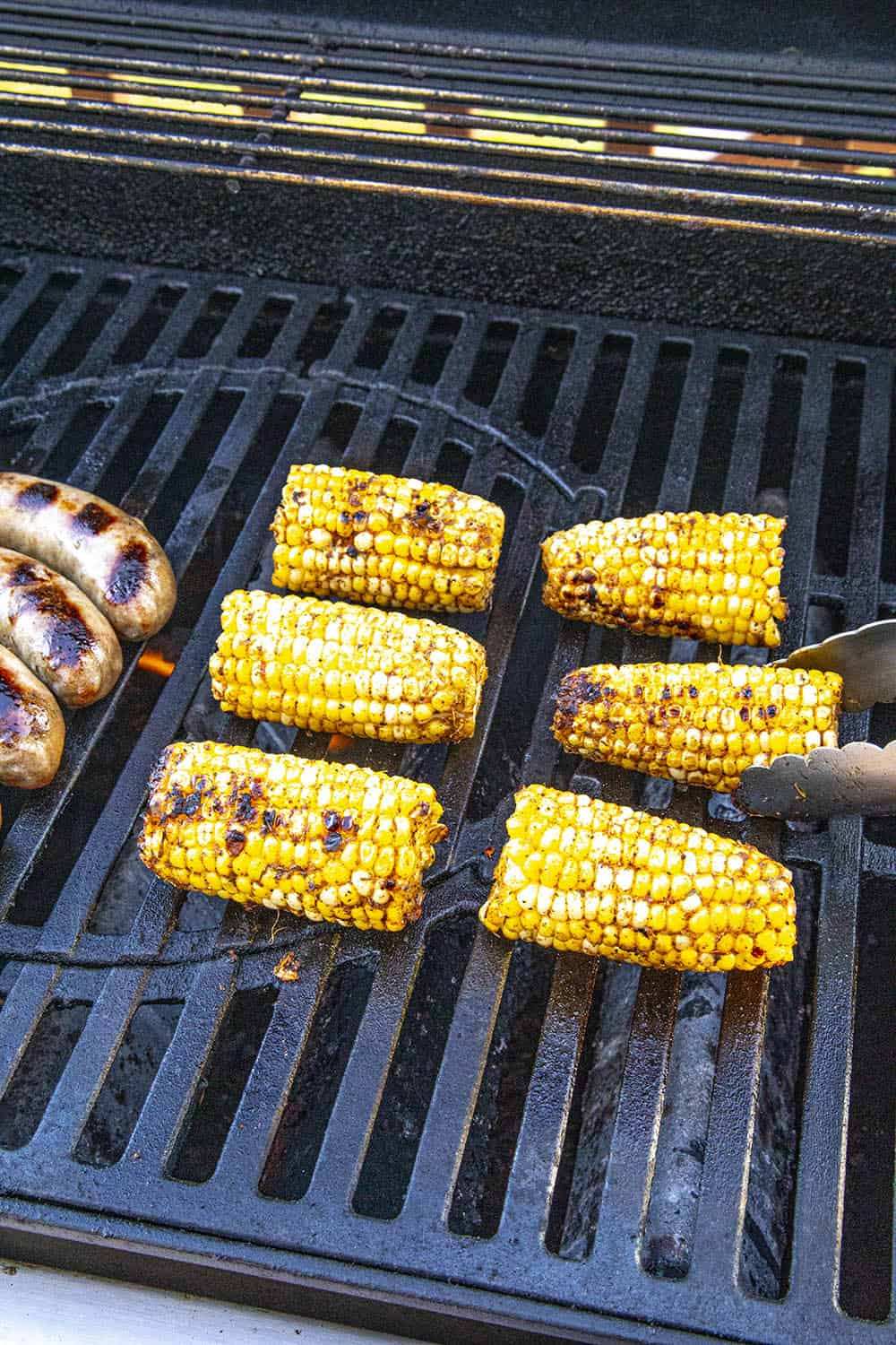 Jerk Rubbed Grilled Corn on the Cob on the grill