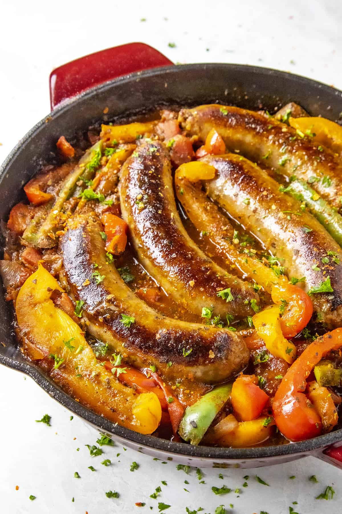 Sausage and Peppers in a hot pan, ready for dinner