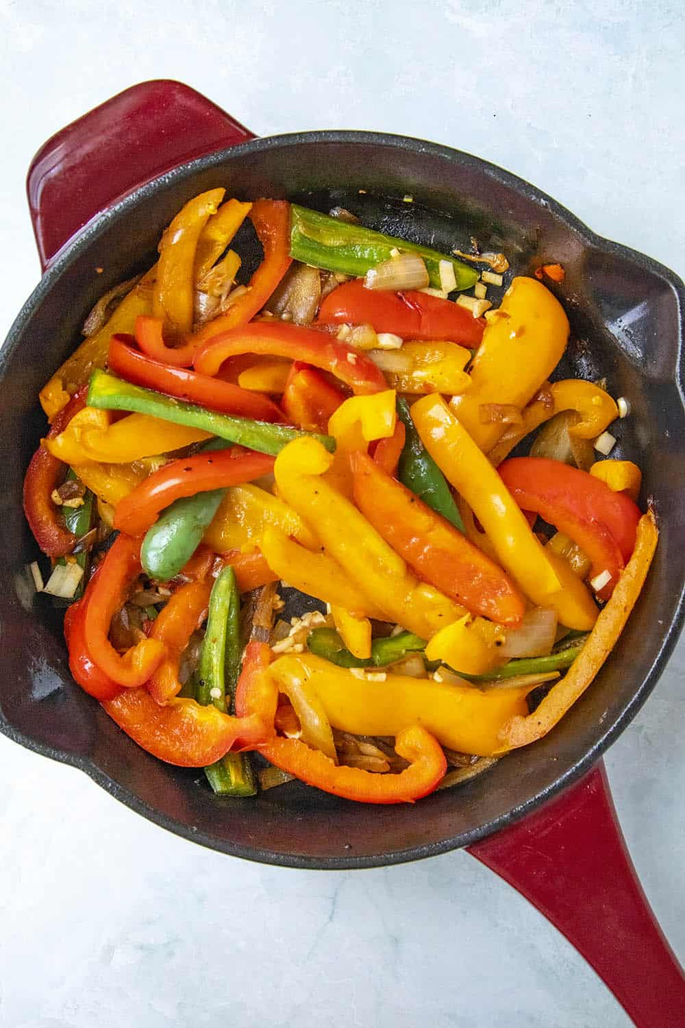 Cooking down the peppers