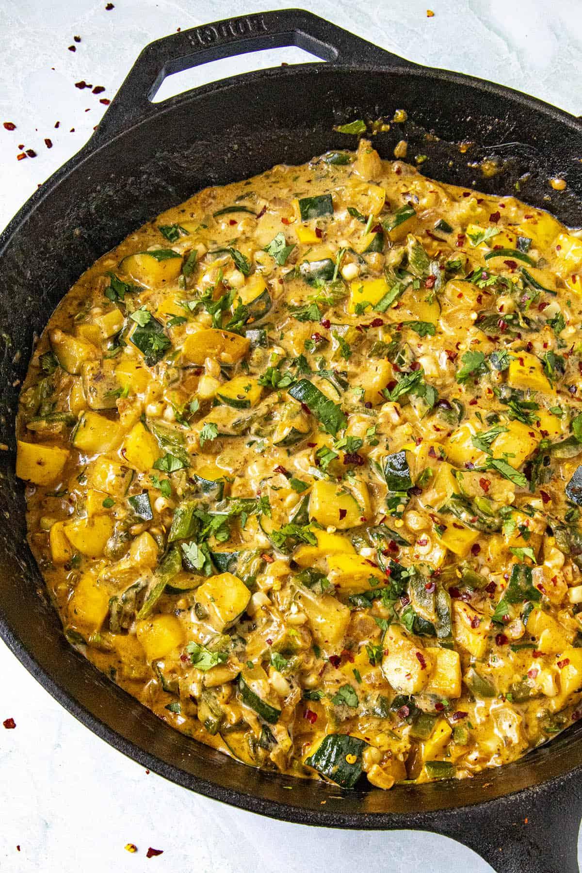 Hot Calabacitas in a pan, ready to serve