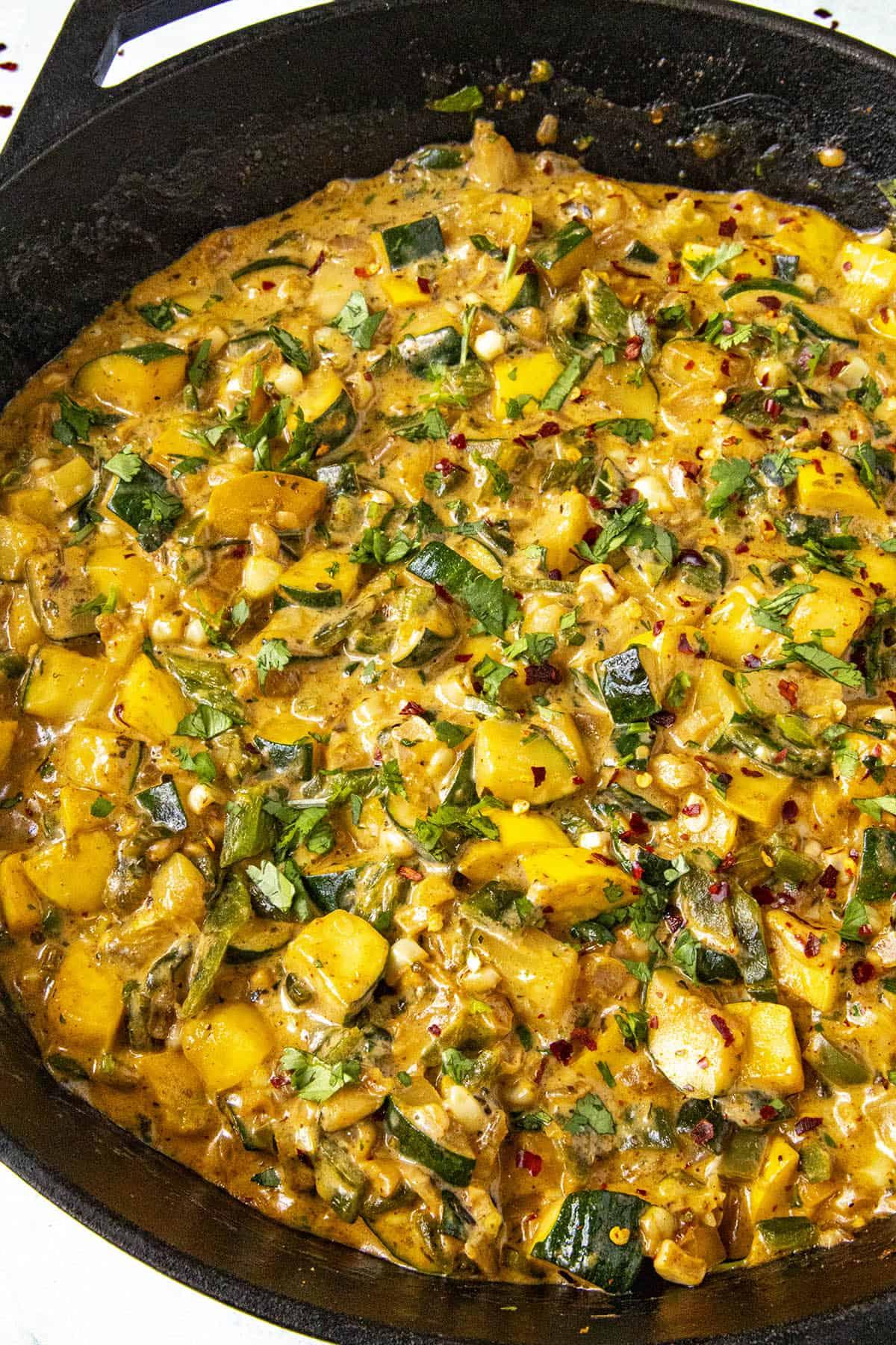 Hot Calabacitas in a pan