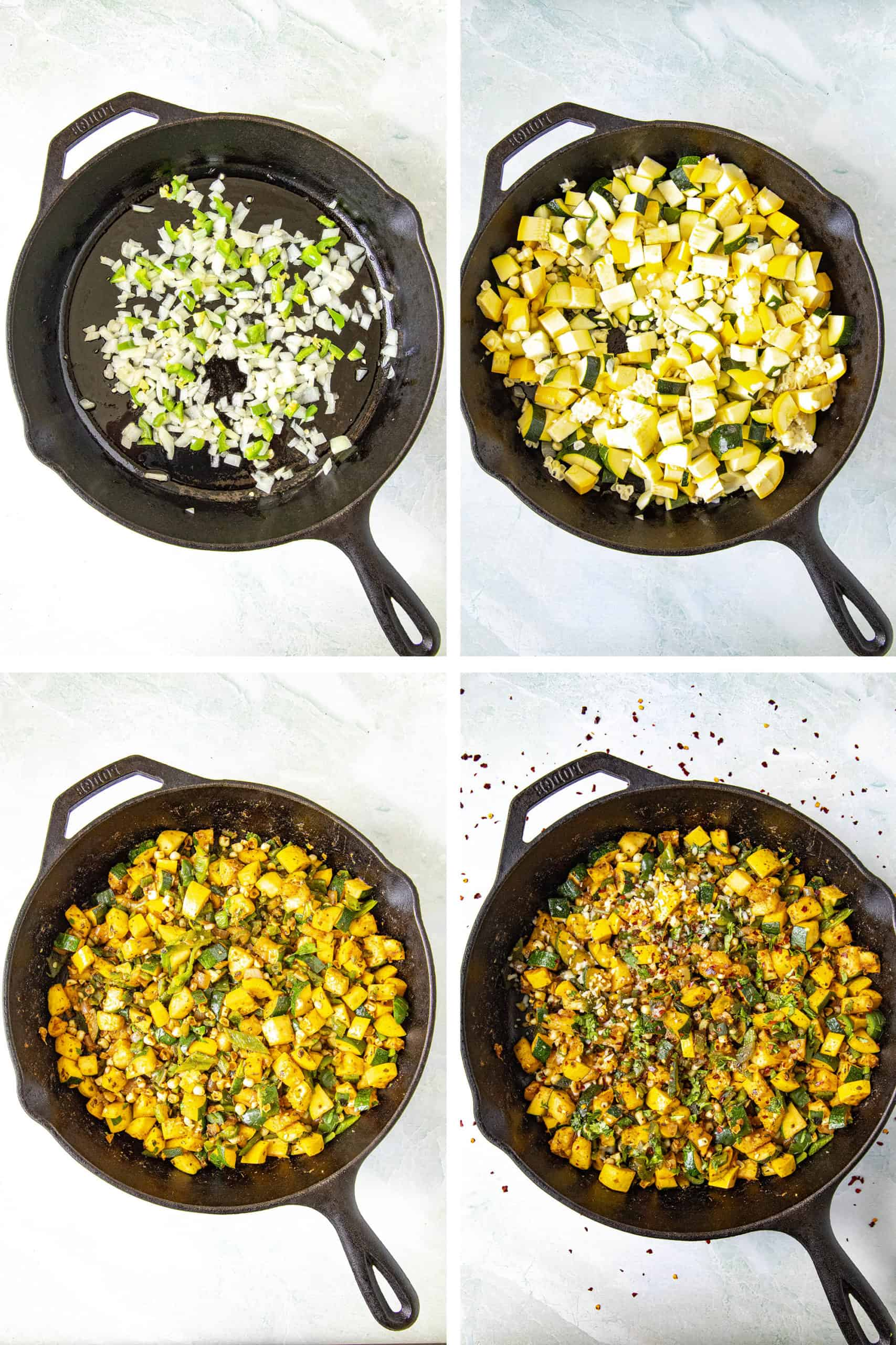 Steps for making Calabacitas