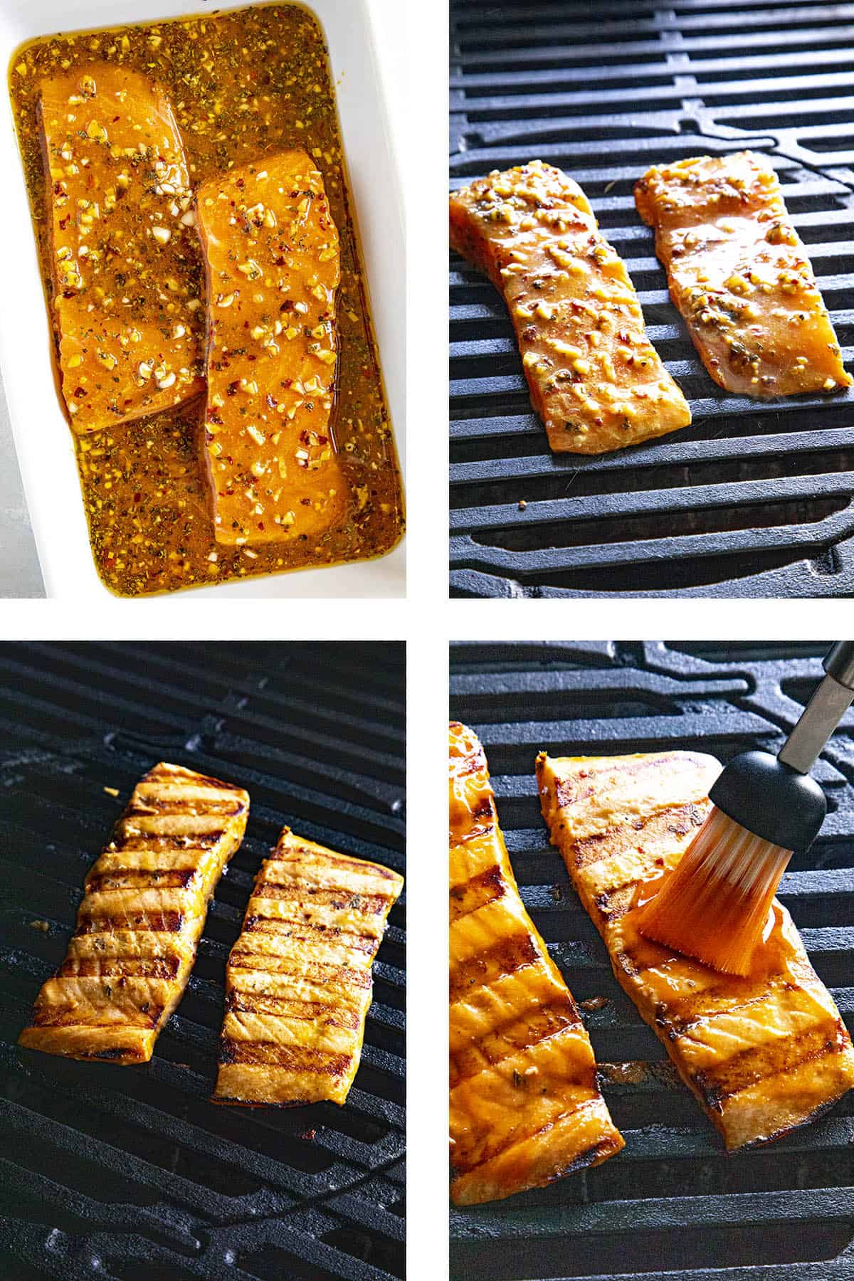 Steps for making grilled salmon with honey sriracha glaze, including marinating, grilling and brushing with sauce