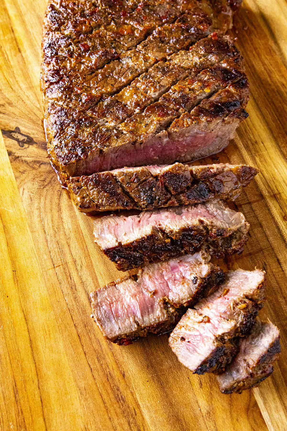 Sliced London broil on a platter, ready to serve