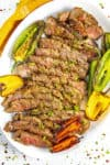 Sliced London broil on a plate