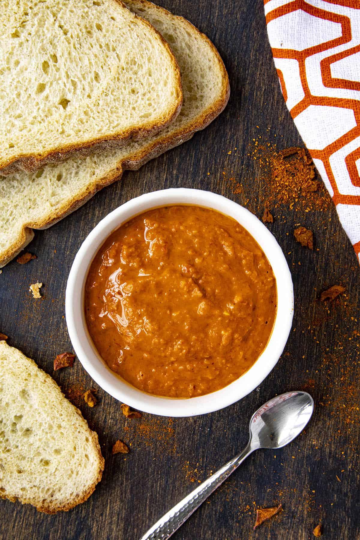 Mojo Picon sauce in a bowl, ready to enjoy