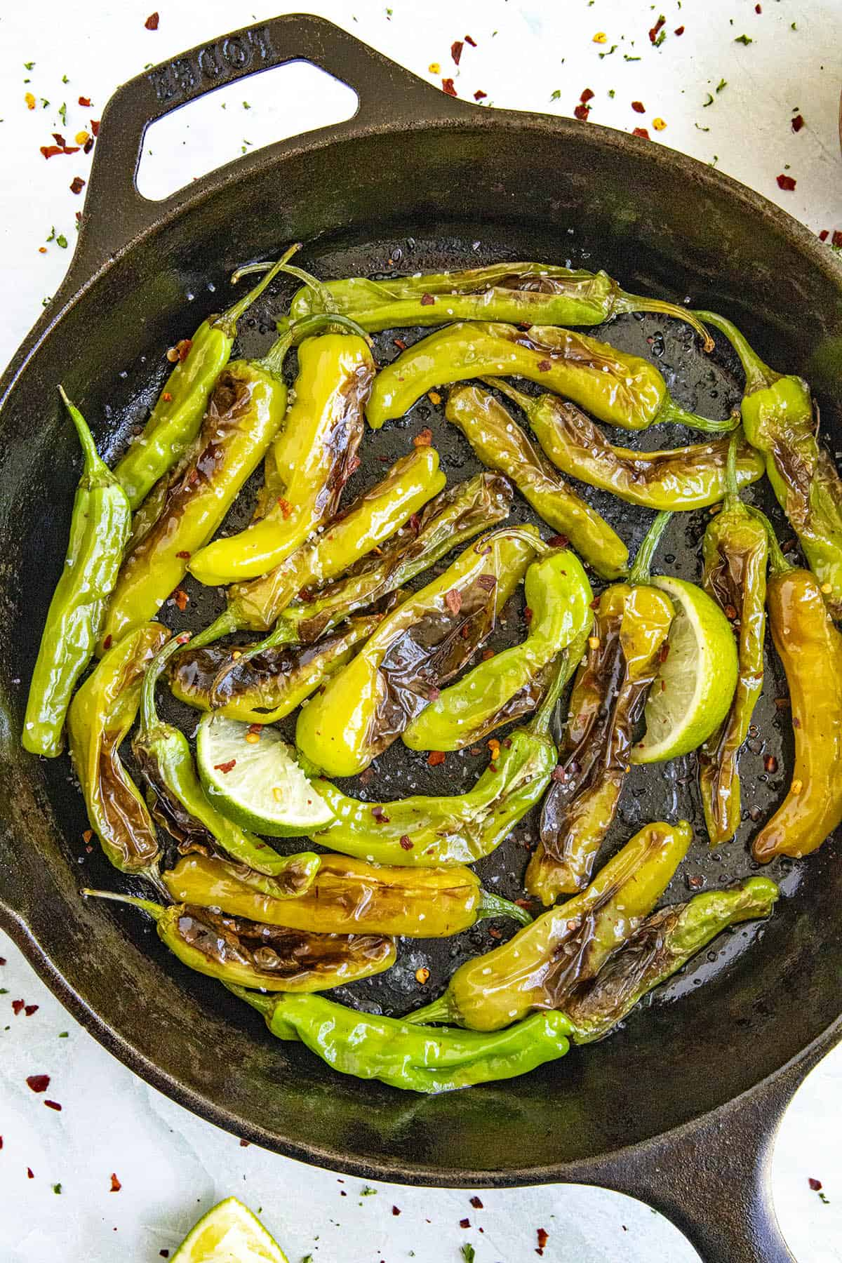Blistered Shishito Peppers in a pan