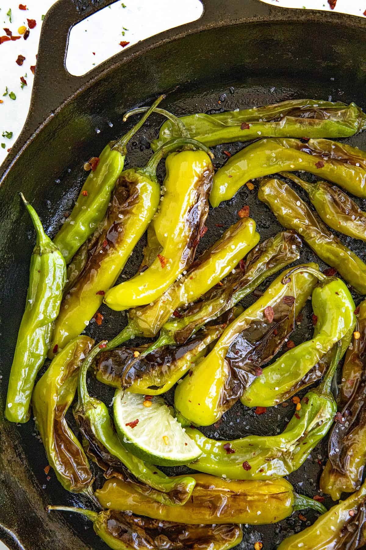 Hot, salted Blistered Shishito Peppers