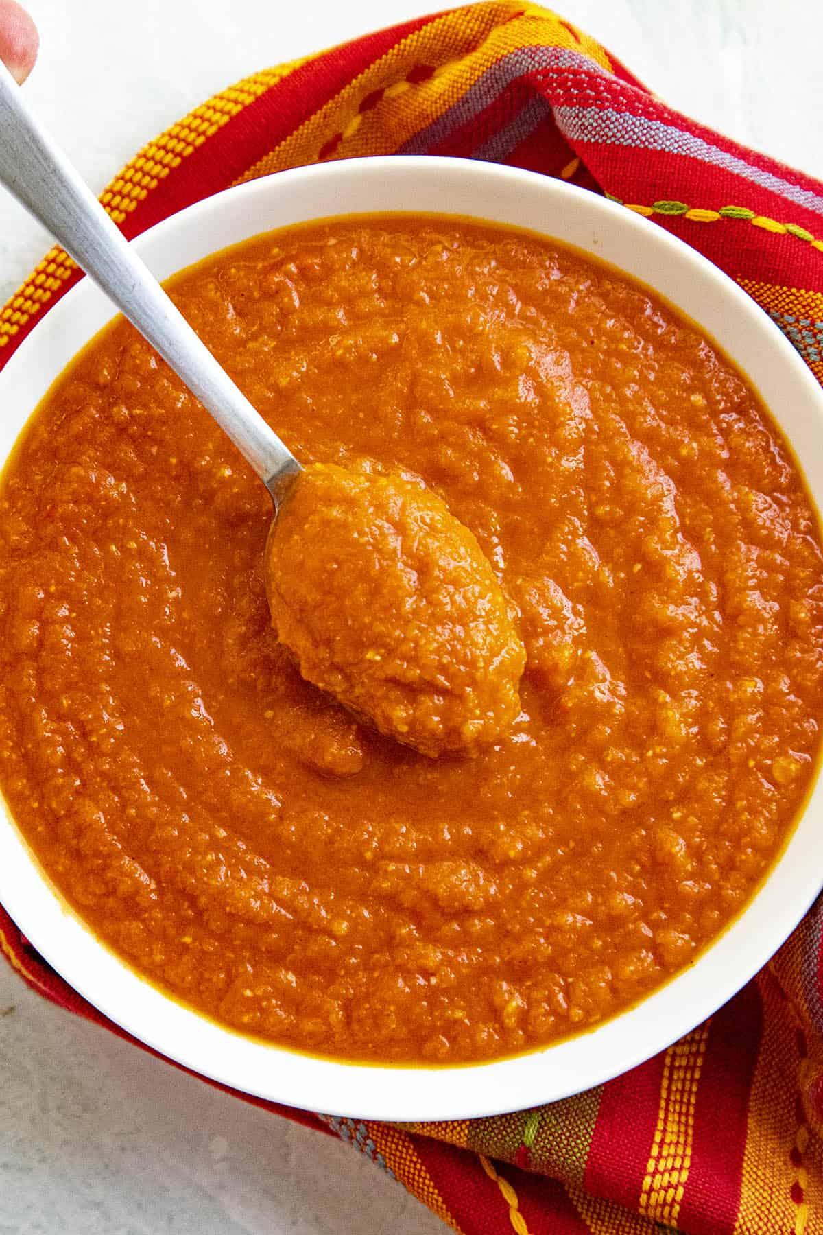 Bravas Sauce on a spoon