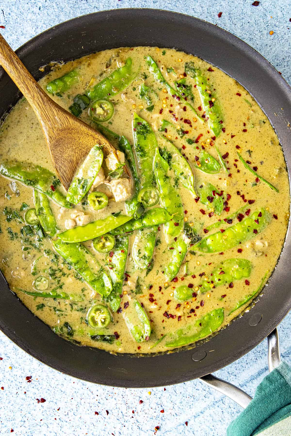 Green curry in a pan for serving