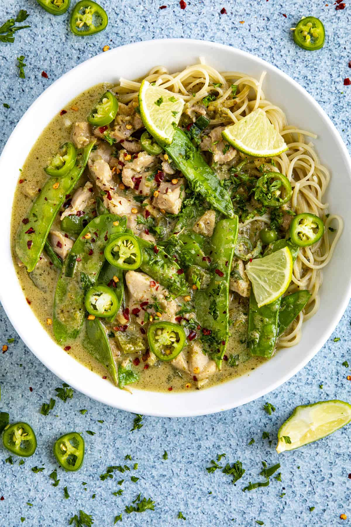 Delicious green curry with lots of garnish