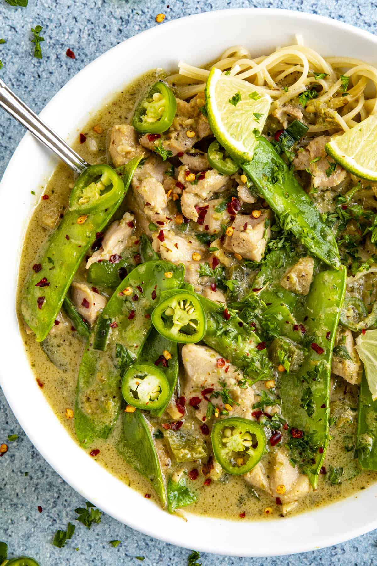Spicy green curry in a bowl, ready to serve