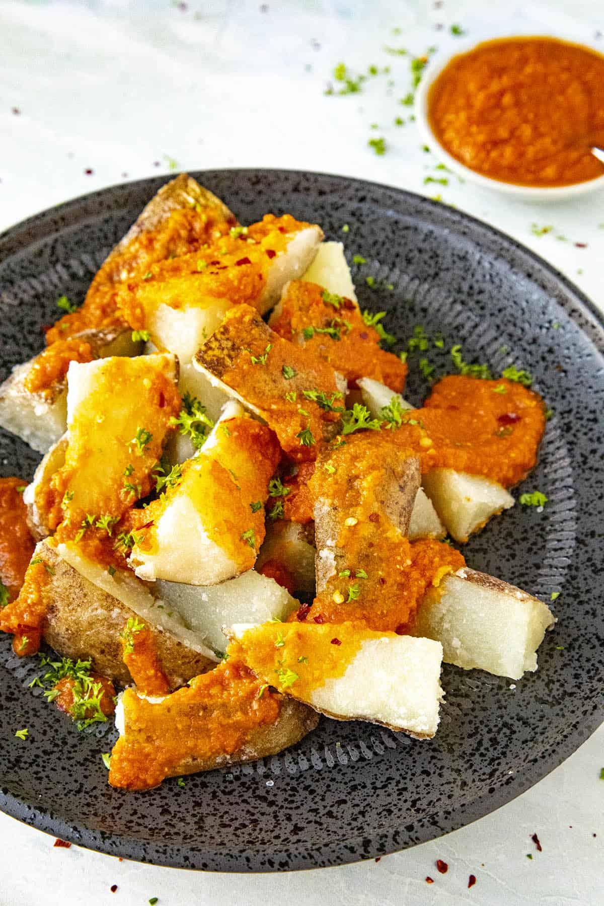 Patatas Bravas on a plate