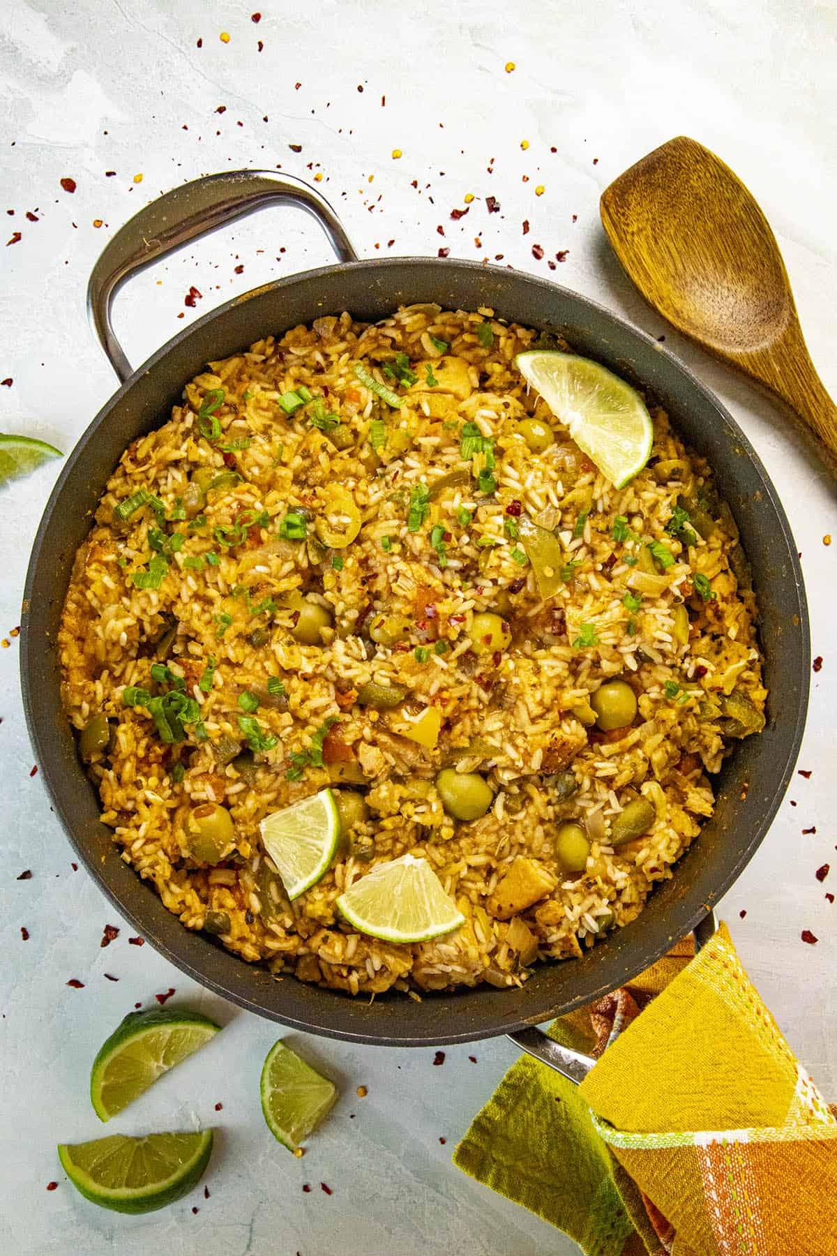 Puerto Rican Arroz con Pollo in a pan, ready to serve