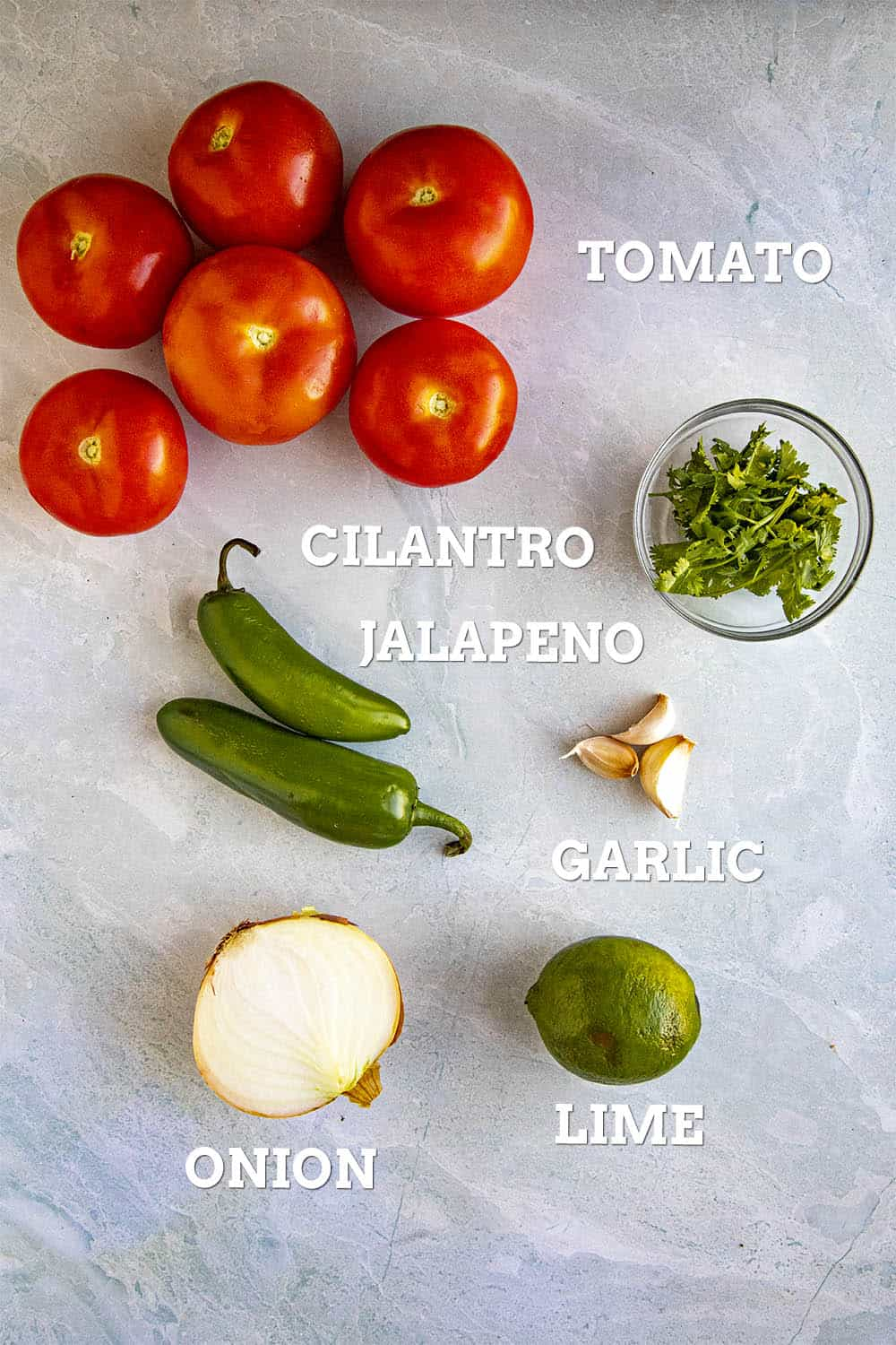 Ingredients for making salsa roja, including tomato, cilantro, jalapeno, onion, garlic and lime
