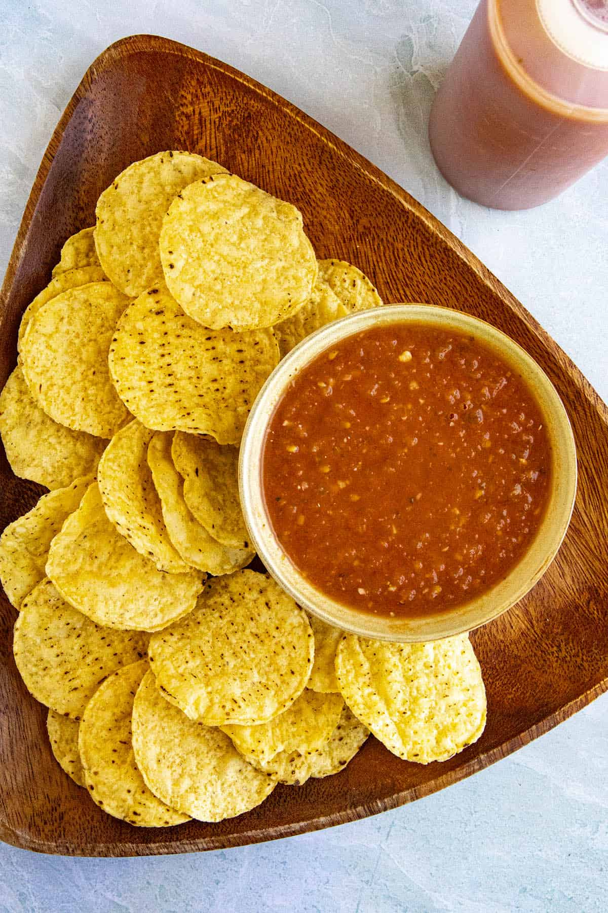 Salsa Roja in a bowl with corn tortilla chips