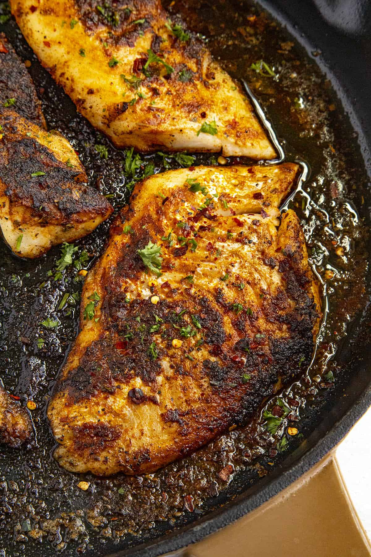 Spicy Blackened Fish in a pan