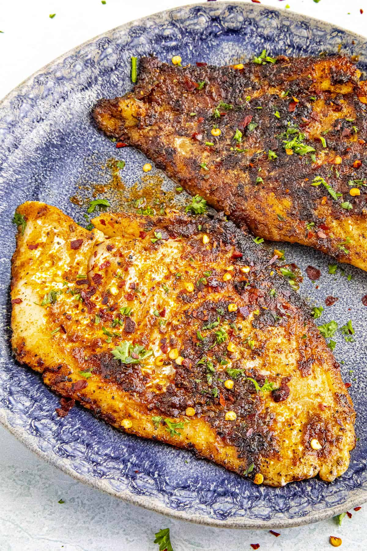 Two pieces of Blackened Fish on a plate