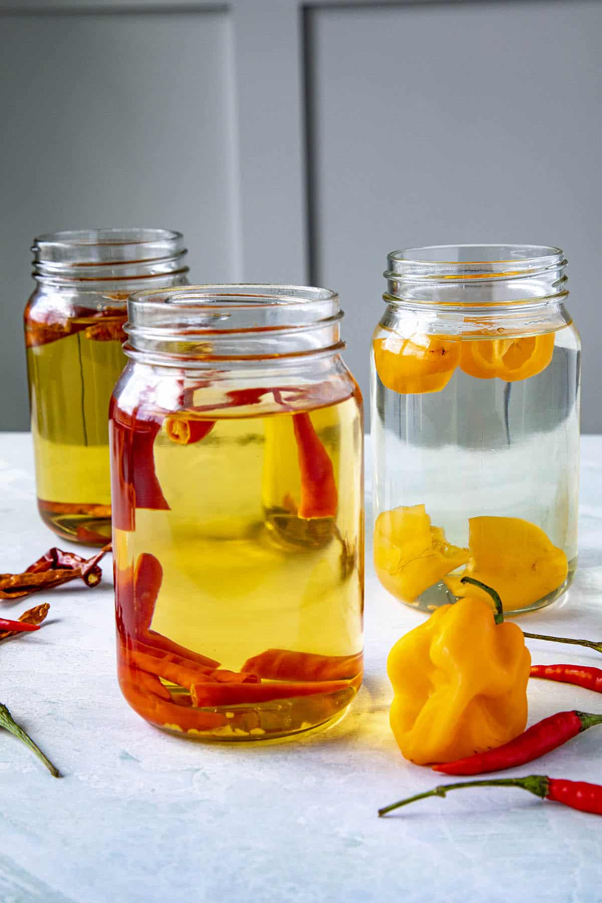 3 jars of spicy chili infused alcohols, including grain alcohol, tequila and vodka