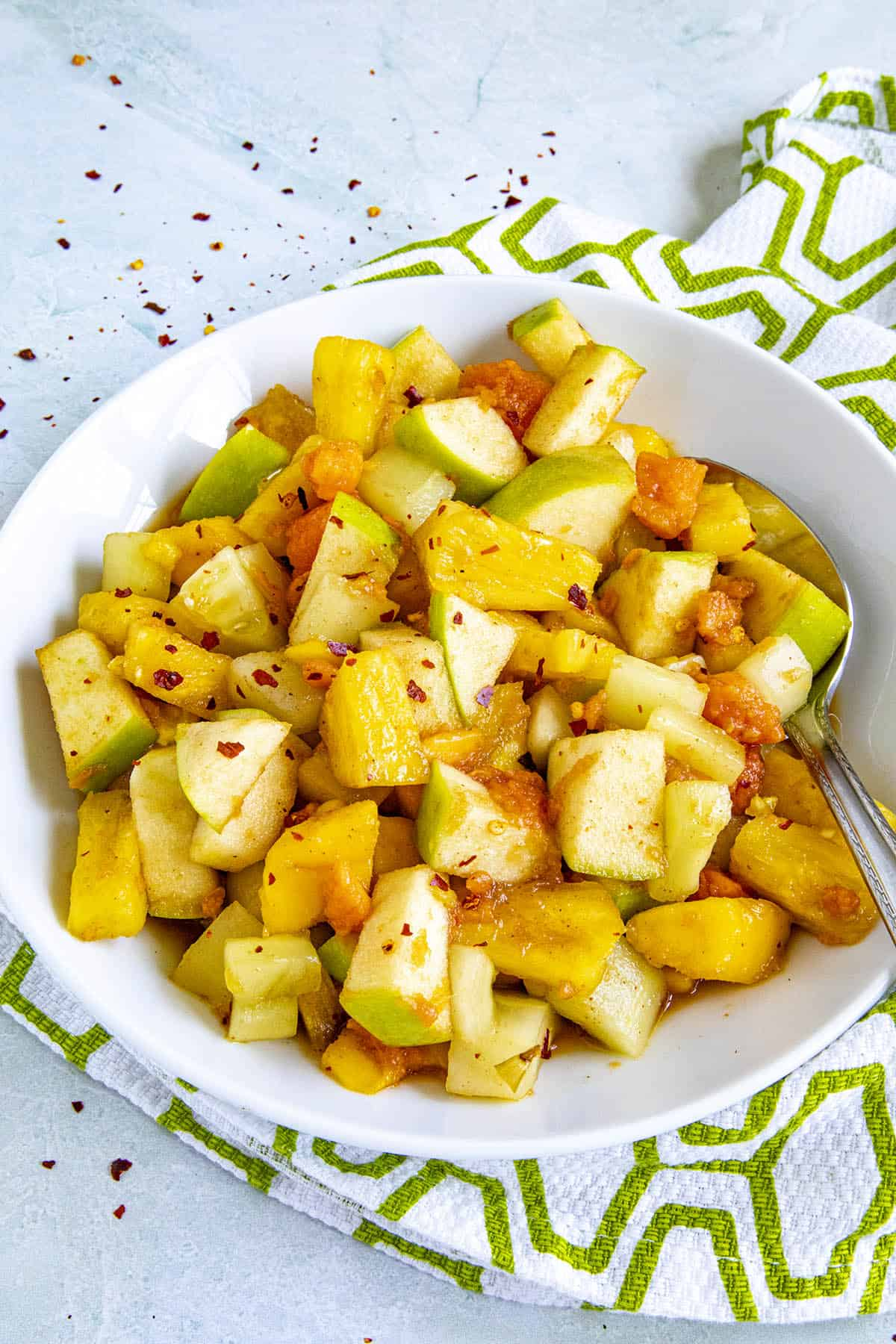 A spoonful of Rujak (Indonesian fruit salad)