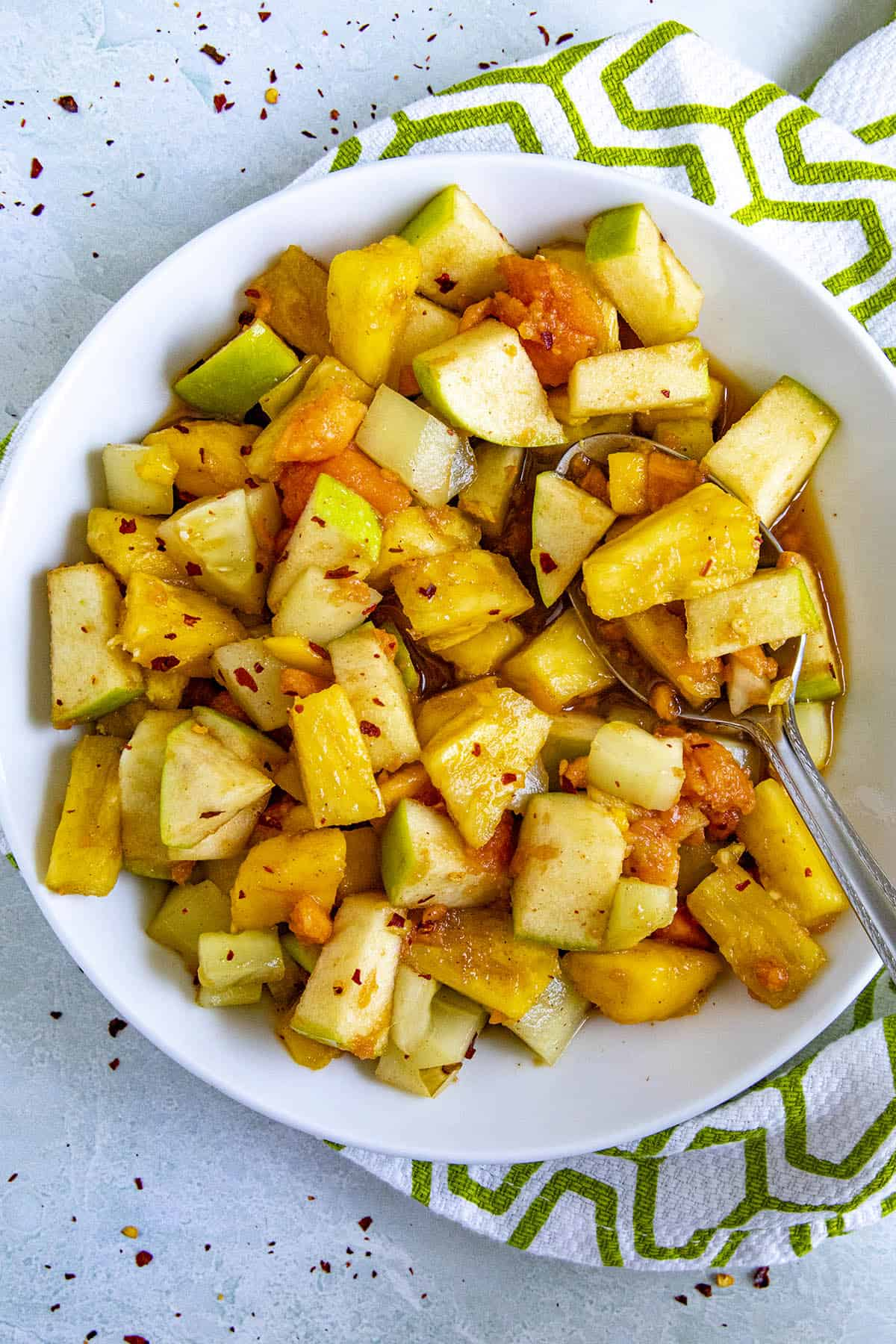 Rujak (Indonesian fruit salad) in a bowl with a spoon
