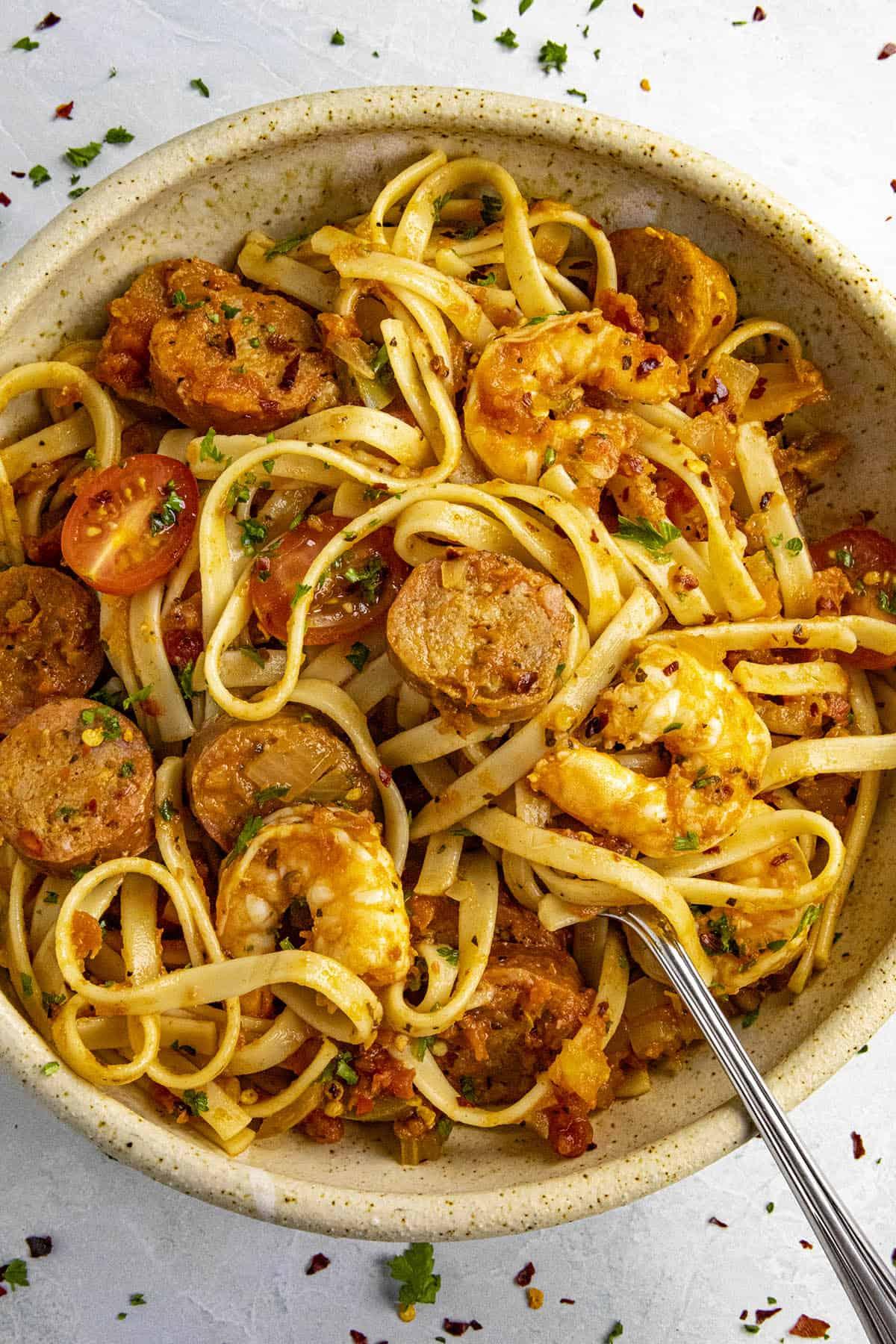 Cajun pasta in a bowl