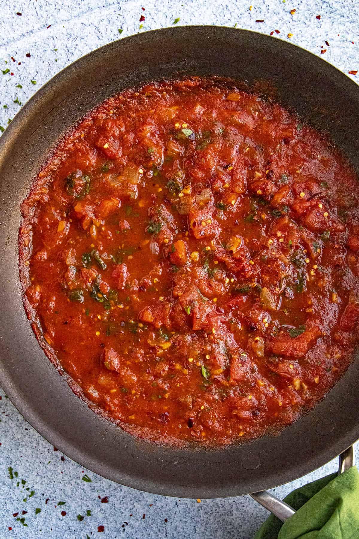 Fra Diavolo Sauce in a pan