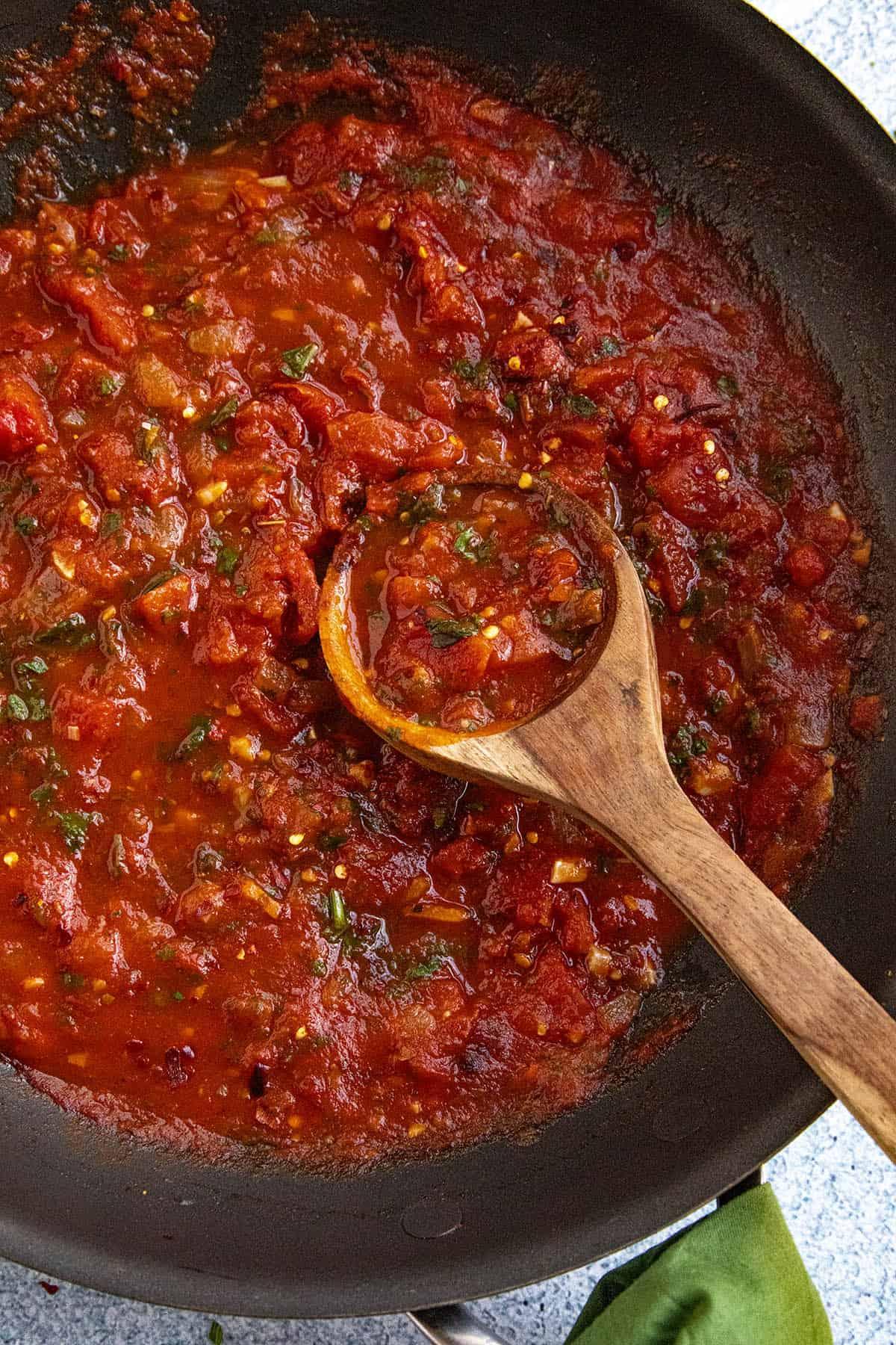 Fra Diavolo Sauce on a spoon