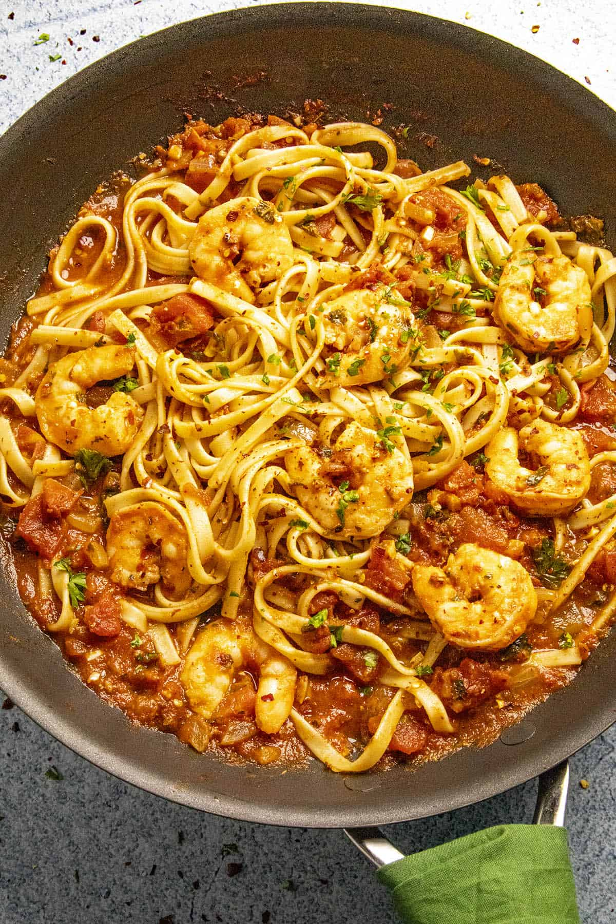 Shrimp Fra Diavolo in a pan with spicy Fra Diavolo Sauce