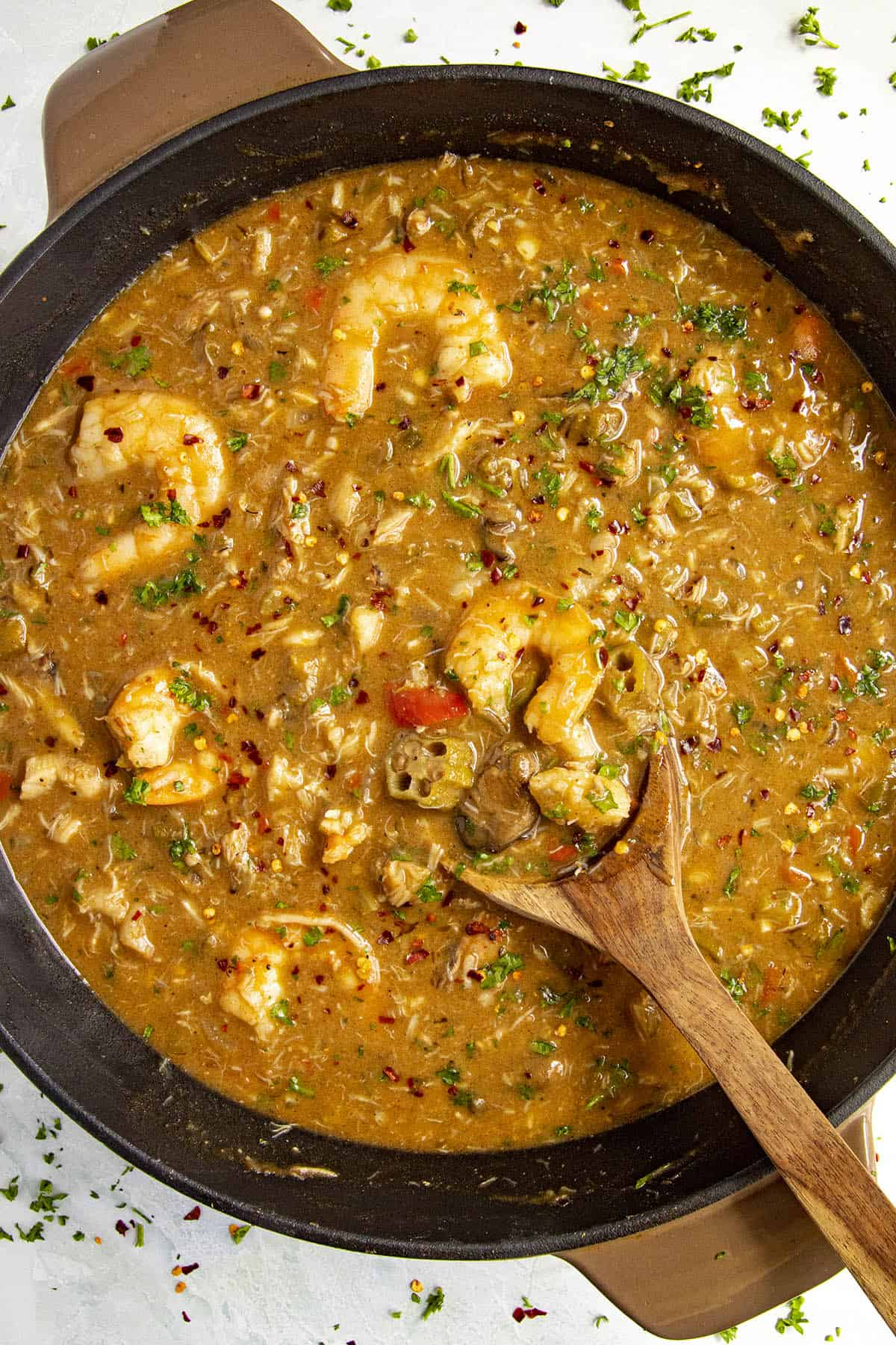 Seafood Gumbo in a pot with 4 types of seafood