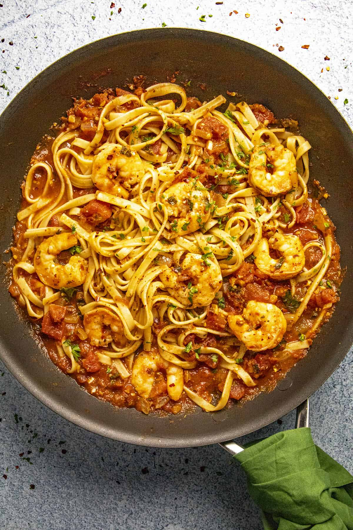 Shrimp Fra Diavolo in a pan, ready to serve