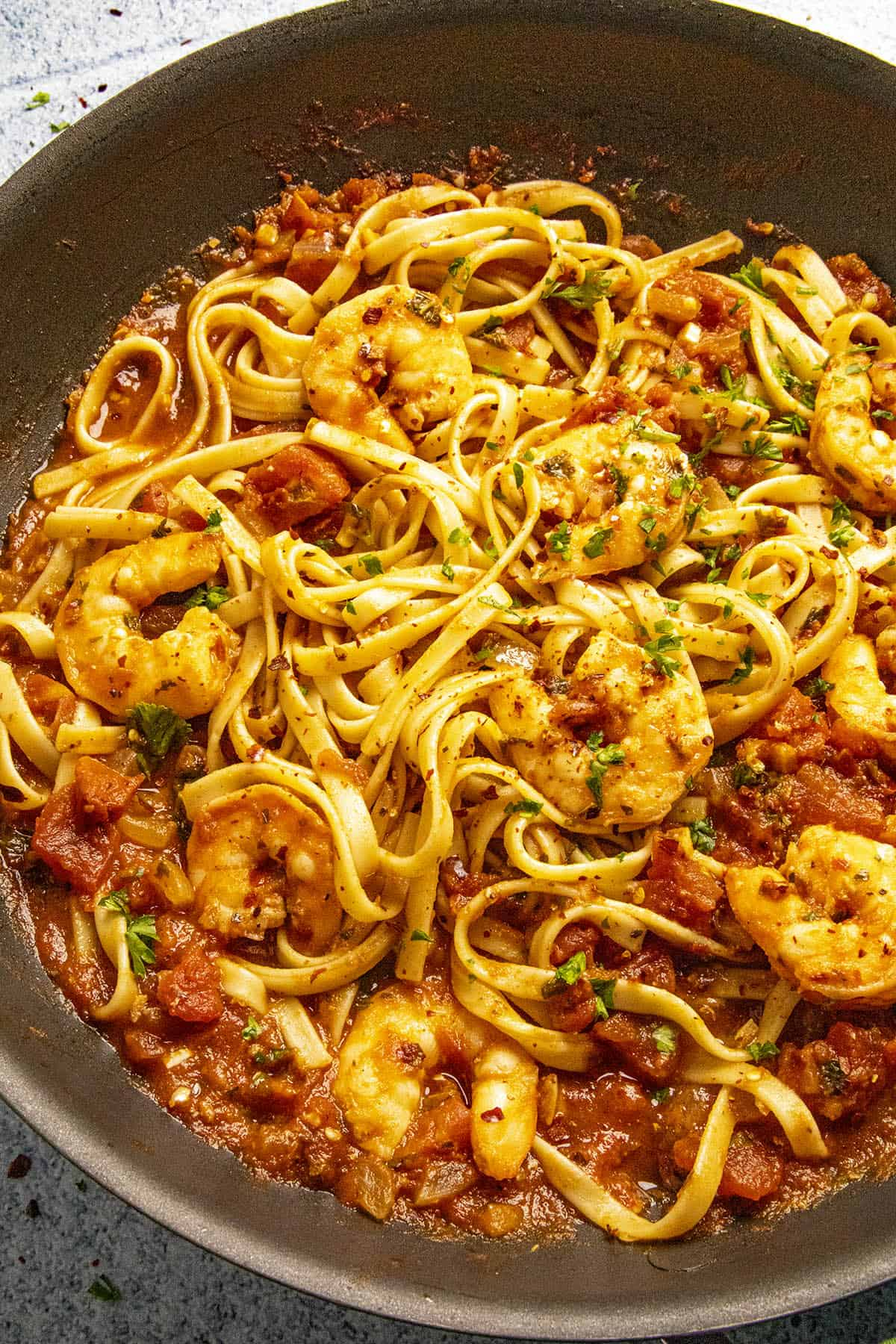 Shrimp Fra Diavolo in a pan