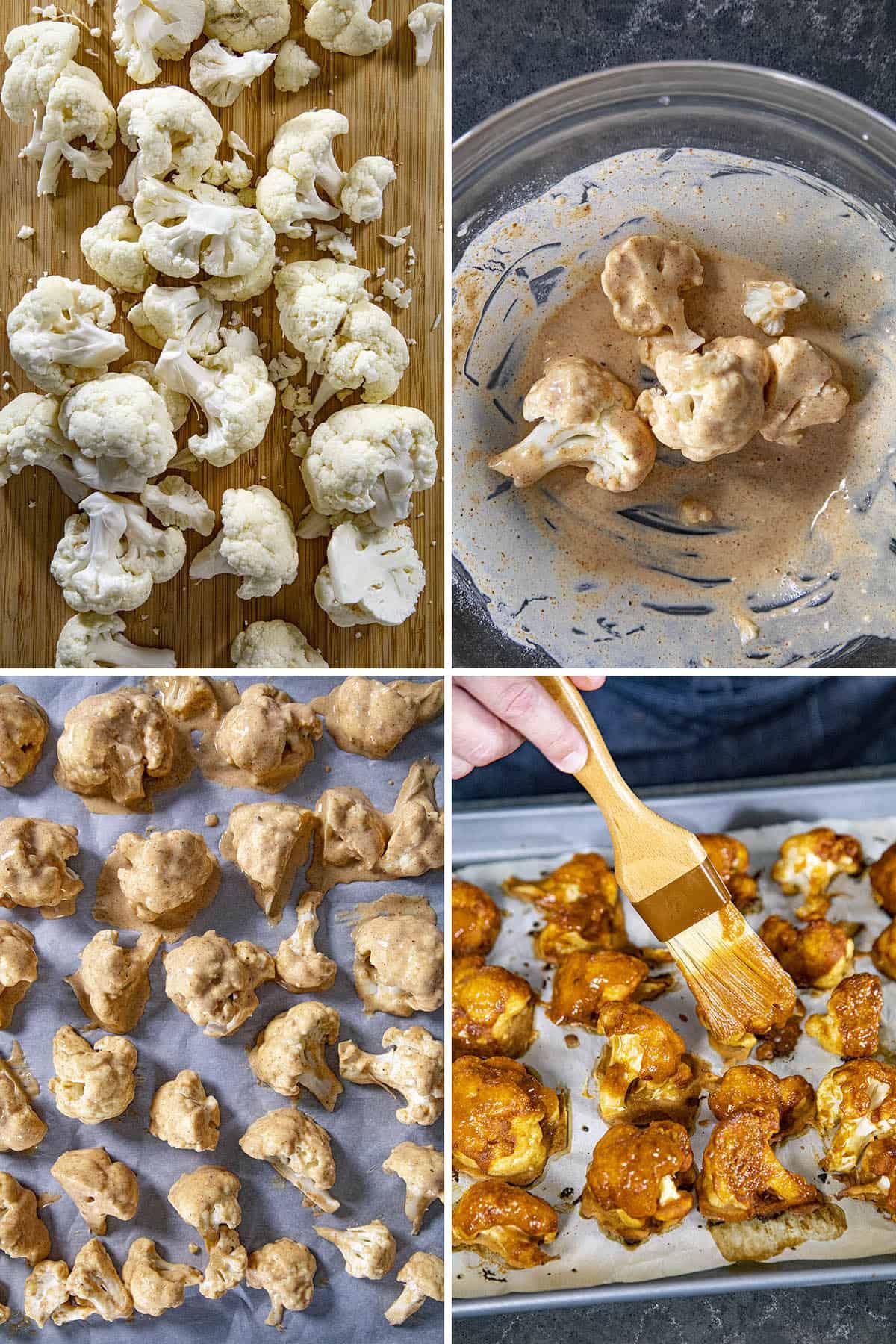 Steps for making Buffalo Cauliflower - slicing, battering, baking, brushing with Buffalo sauce