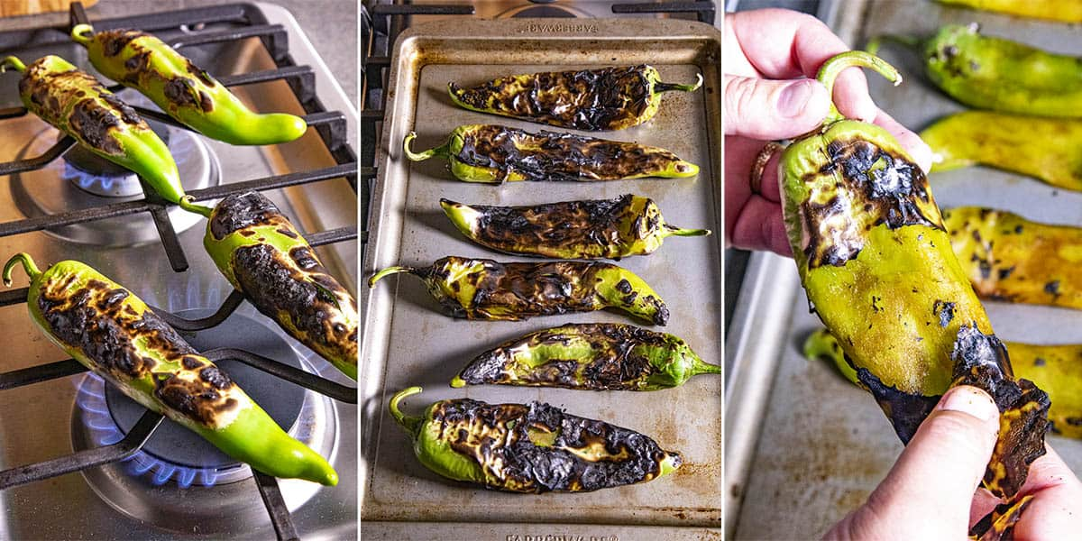 Roasting and peeling chile peppers