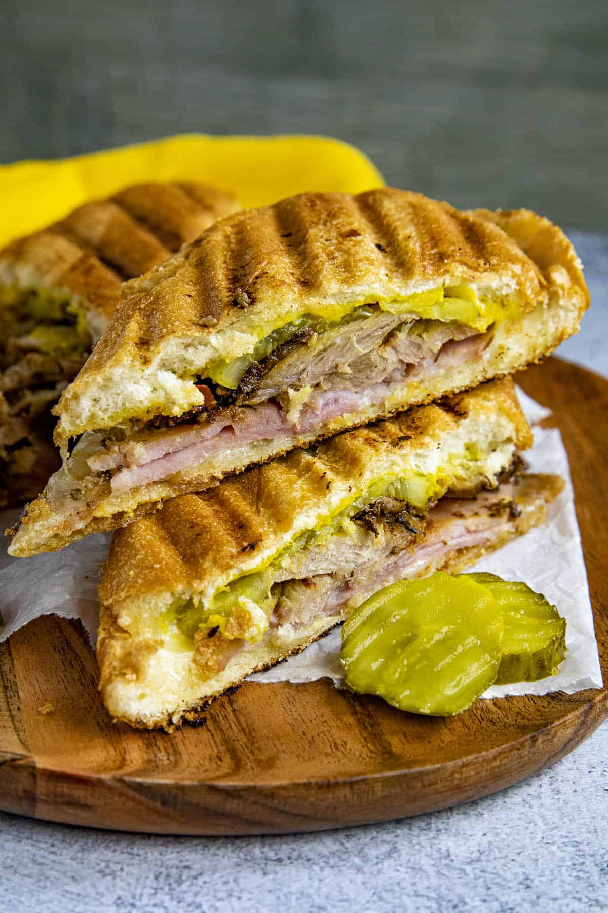 Slices Cuban Sandwiches on a plate