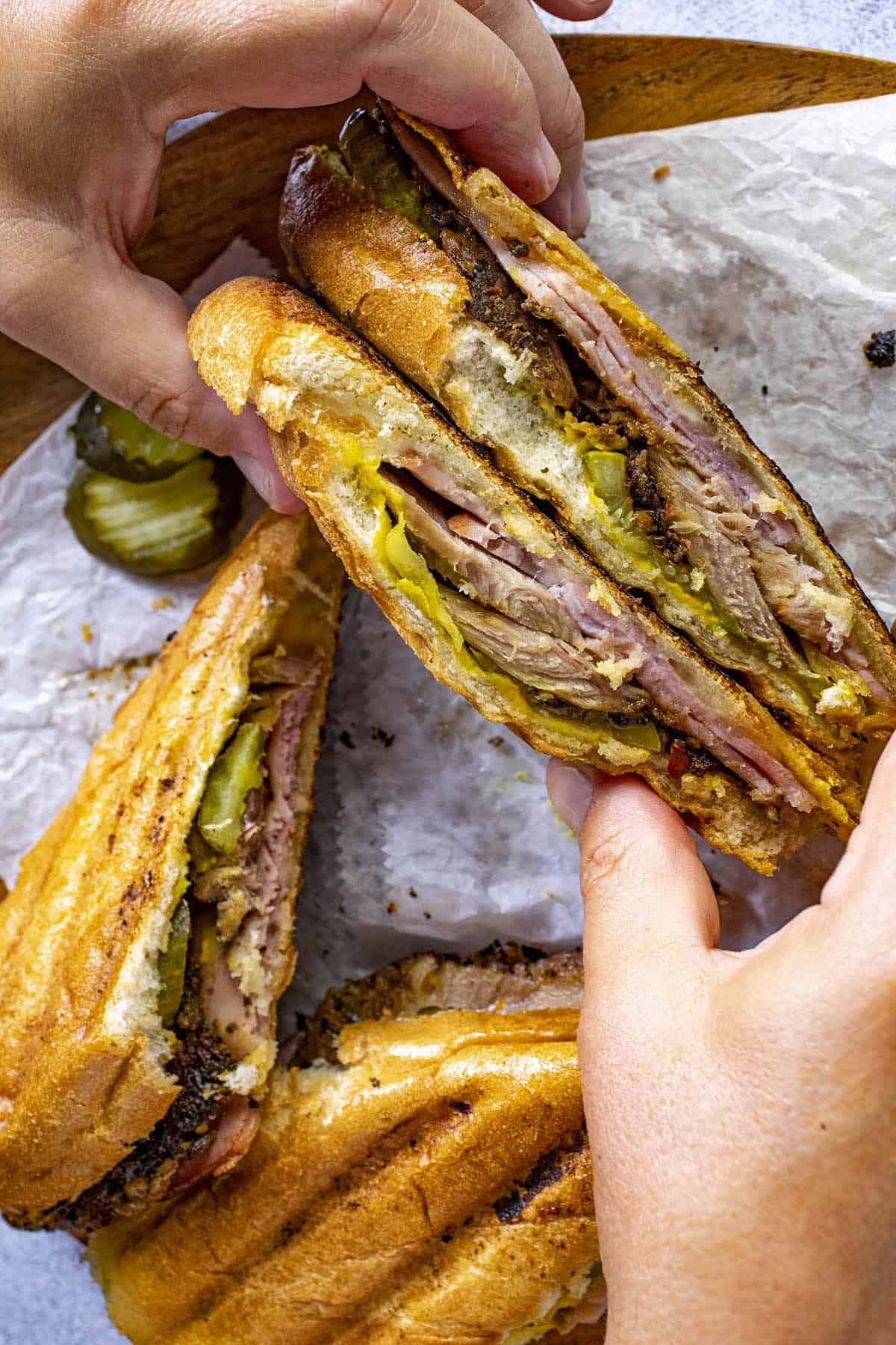 Mike holding a Cuban Sandwich