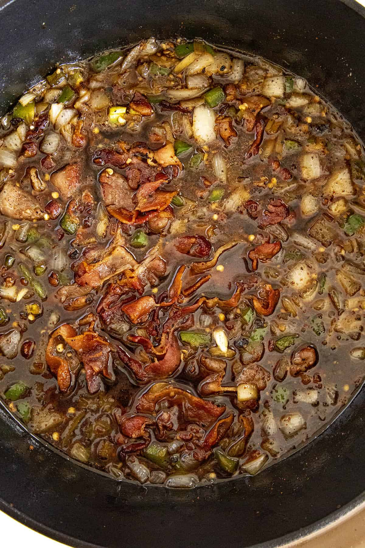 Bacon Jam starting to simmer in a pot