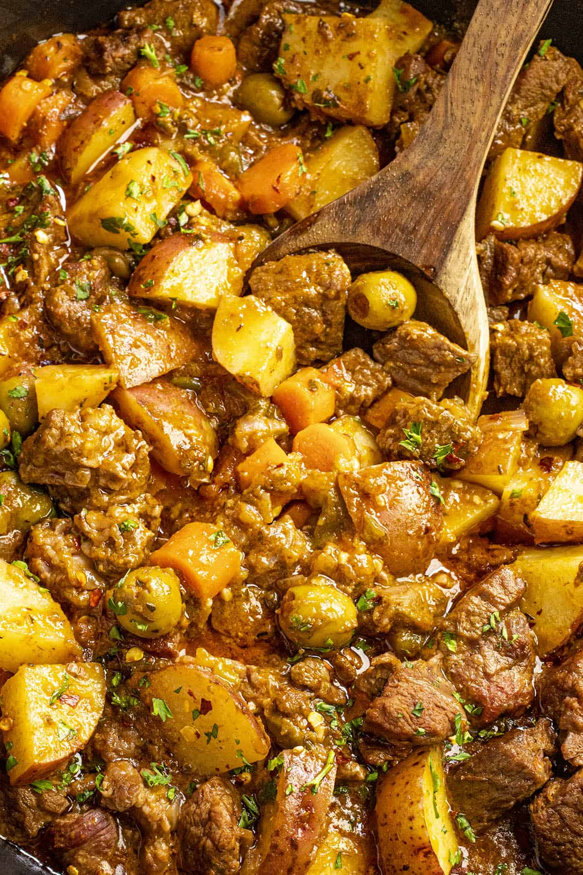 A big spoonful of hearty carne guisada (beef stew)