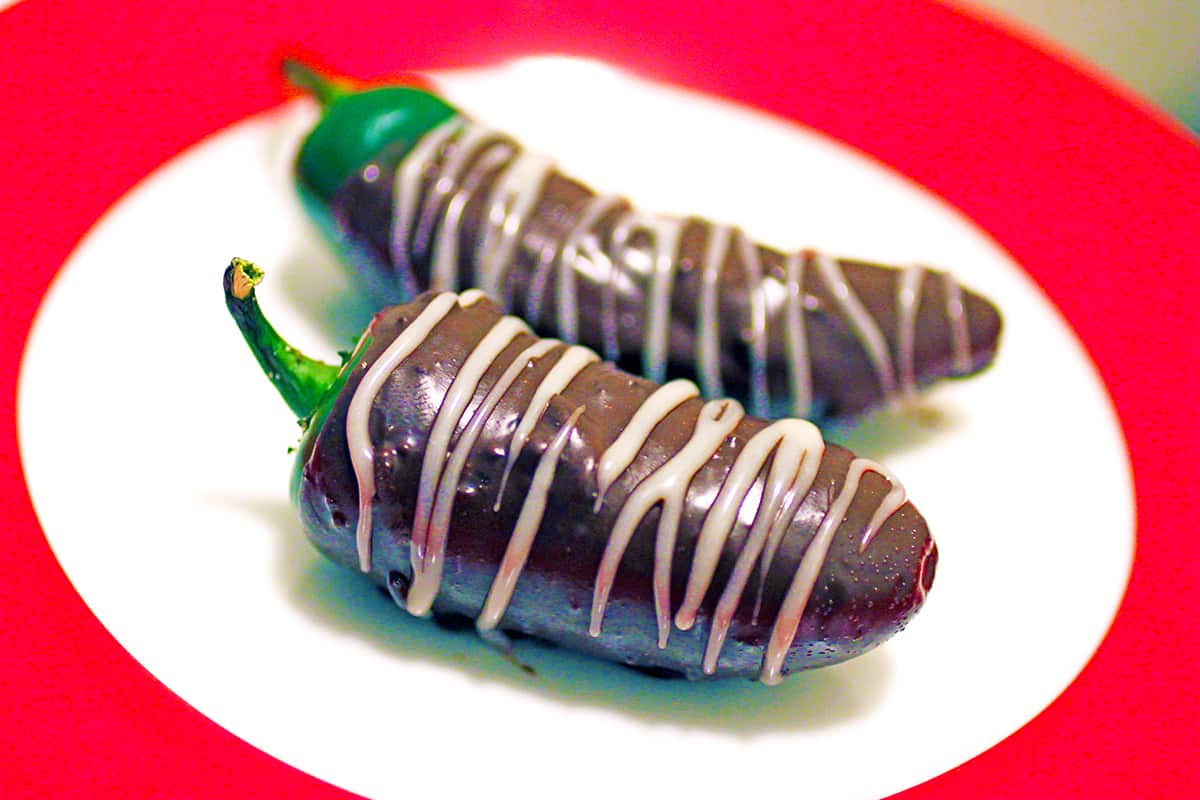 Chocolate Covered Jalapeno Peppers on a plate
