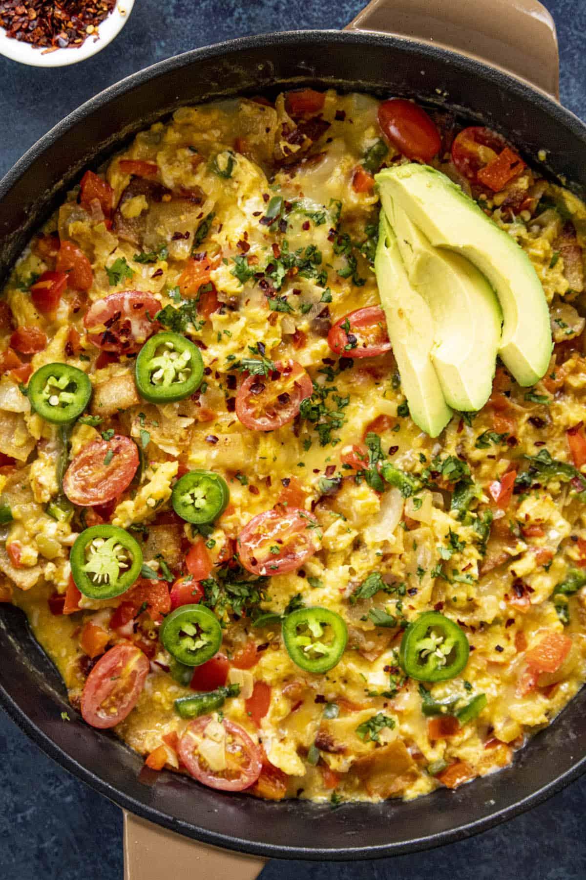 A big pan of Migas (Easy Mexican Scrambled Eggs with Crispy Tortillas)