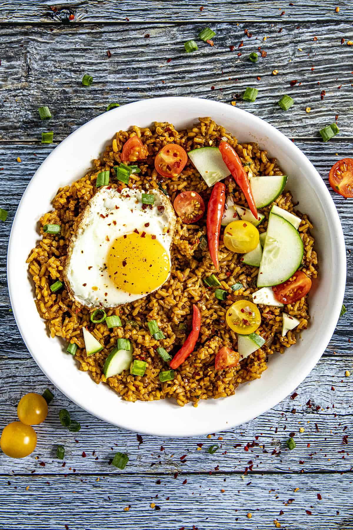 Indonesian Fried Rice (Nasi Goreng) in a bowl, ready to serve