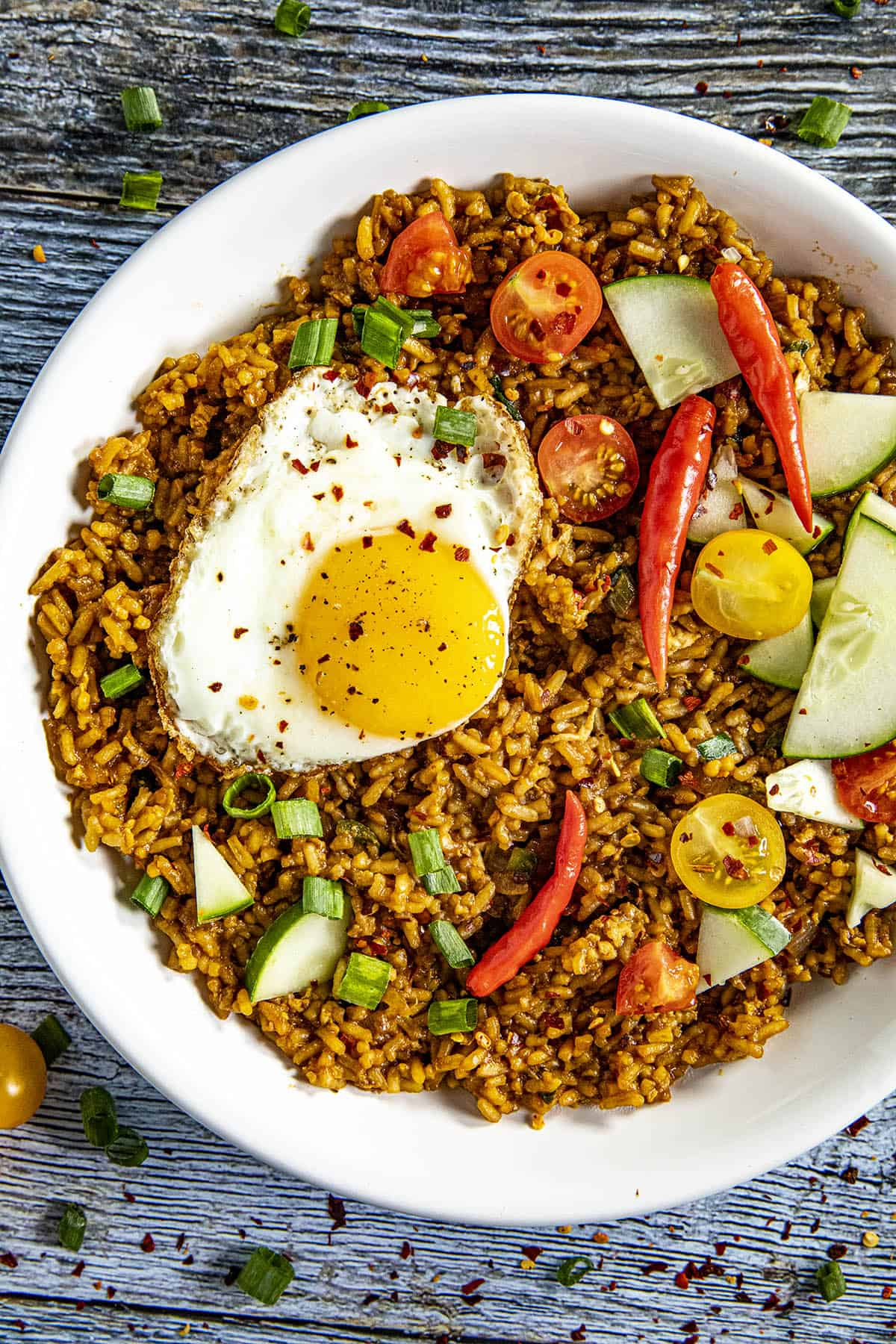 Indonesian Fried Rice (Nasi Goreng) in a bowl