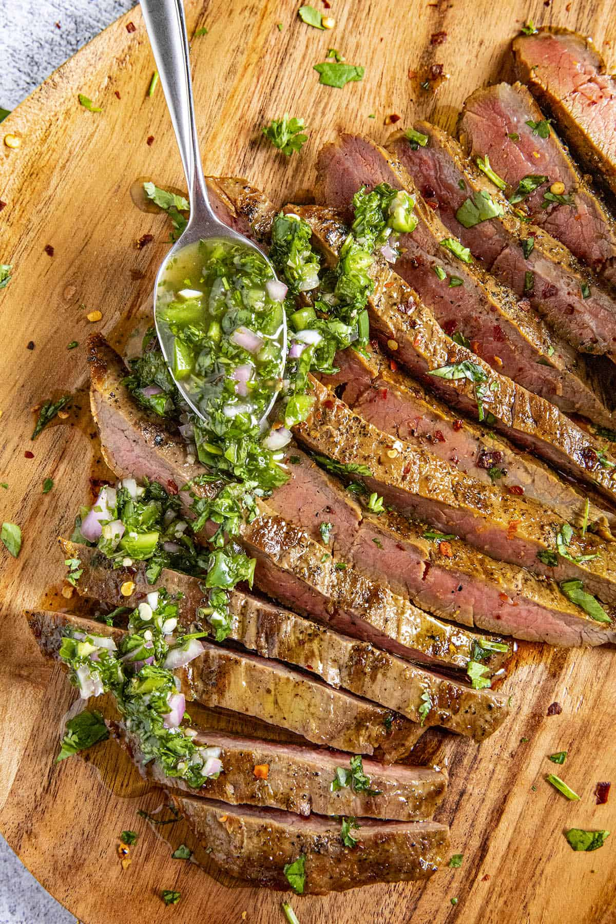 Serving up a platter of Chimichurri Steak