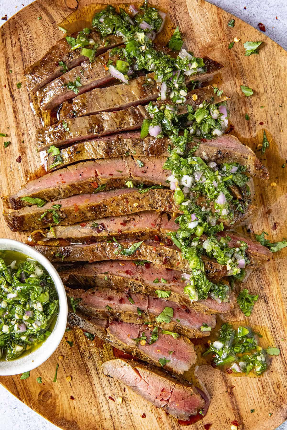 Chimichurri Steak on a platter, ready to serve